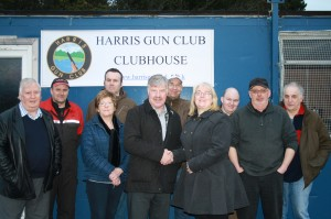 MCWFT Chairperson Iain MacIver congratulates Harris Gun Club member Fiona Knappe on their recent award of £33,600